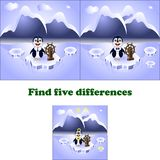 Wektorowy ilustracyjny znaleziska pięć różnic pingwin royalty ilustracja