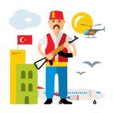 Wektorowy Indyczy lotnisko Ochrona oficer Mieszkanie kreskówki stylowa kolorowa ilustracja ilustracji