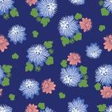 Wektorowy indygowego błękita bezszwowy wzór z liśćmi i dzikim kwiatem Stosowny dla tkaniny, prezenta opakunku i tapety, royalty ilustracja