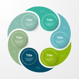 Wektorowy infographic szablon dla diagrama, wykresu, prezentaci i mapy, Biznesowy pojęcie z 6 opcjami, części, kroki fotografia stock