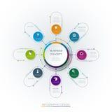 Wektorowy infographic szablon z 3D papieru etykietką, zintegrowani okręgi ilustracja wektor