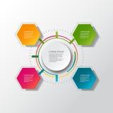 Wektorowy infographic szablon z 3D papieru etykietką, zintegrowani okręgi Może używać dla obieg układu, diagram, biznesowy kroka  Obraz Stock