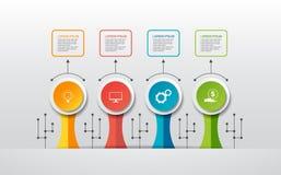 Wektorowy infographic szablon z 3D papieru etykietką, zintegrowani okręgi Może używać dla obieg układu, diagram, pomysłu biznesow Zdjęcie Stock