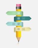 Wektorowy infographic szablon z ołówkiem i faborkami Projektuje biznesowego pojęcie dla prezentaci, wykres, diagram opcje Zdjęcia Royalty Free