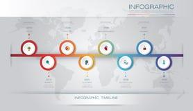 Wektorowy infographics linii czasu projekta szablon z 3D papieru etykietką 8 i wykresem kroczy opcje royalty ilustracja