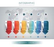 Wektorowy infographics linii czasu projekta szablon z 3D papieru etykietką 6 i wykresem kroczy opcje ilustracji