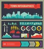 Wektorowy infographics Miasteczko i wioska Zdjęcie Stock