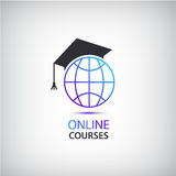 Wektorowy interneta uczenie, nauczanie, online kursy logowie, ikona royalty ilustracja