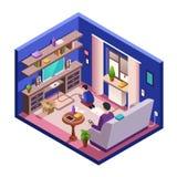 Wektorowy isometric żywy izbowy wnętrze z ludźmi ilustracji