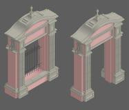 Wektorowy isometric brama portal Zdjęcie Royalty Free