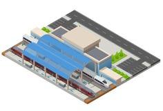 Wektorowy isometric infographic element staci kolejowej budynku Terminal Zdjęcie Stock