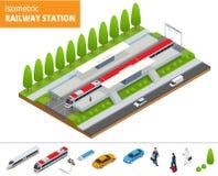 Wektorowy isometric infographic element staci kolejowej budynku Terminal Zdjęcie Royalty Free