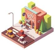 Wektorowy isometric kipiel sklep ilustracja wektor