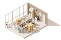 Wektorowy isometric niski poli- biurowy pokój Obraz Stock
