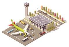 Wektorowy isometric niski poli- lotniskowy śmiertelnie budynek z samolotem i ziemia Wspieramy wyposażenie Zdjęcie Royalty Free