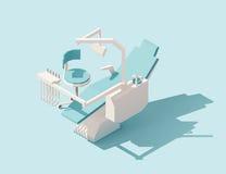 Wektorowy isometric niski poli- stomatologiczny krzesło ilustracji