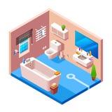 Wektorowy isometric nowożytny łazienki wnętrze ilustracja wektor
