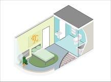 Wektorowy isometric pokój z łazienką zdjęcie stock