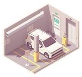 Wektorowy isometric samochodowy garaż ilustracja wektor