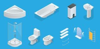 Wektorowy isometric set łazienka meble Jacuzzi, skąpanie, bojler, washbasin, prysznic, prysznic, toaleta, bidet, suszarka royalty ilustracja