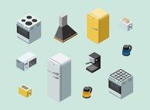 Wektorowy isometric set domowy elektryczny wyposażenie Fotografia Stock