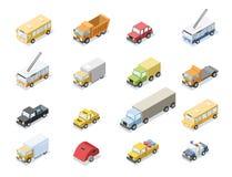 Wektorowy isometric set miasto transport, samochodowe ikony ilustracji