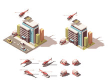 Wektorowy isometric szpital z ambulansową samochodu dostawczego i helikopteru ikoną ilustracja wektor