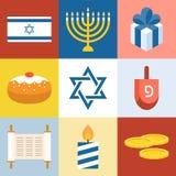 Wektorowy Israel i Hanukkah festiwalu ikony set royalty ilustracja