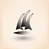 Wektorowy jachtu klubu logo Halftone stylizujący ilustracji