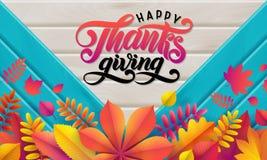 Wektorowy jesień sztandar Bukiet spadać jesień liście na turkusowym drewnianym tle Literowanie teksta Szczęśliwy dziękczynienie zdjęcia royalty free