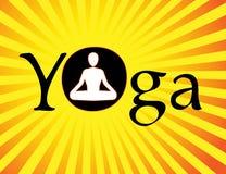 Wektorowy joga logo, joga symbol, mężczyzna spełnianie joga w lotosowej pozyci, asana & medytacja, Obraz Stock