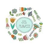 Wektorowy kółkowy kwiecisty wianek z lato kwiatami Zdjęcia Royalty Free