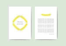 Wektorowy kartka z pozdrowieniami szablon z kolorem żółtym kwitnie, 10x15 cm, redy dla druku Fotografia Royalty Free