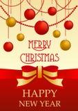 Wektorowy kartka z pozdrowieniami z tradycyjną czerwienią i złote żółte dekoracje dedykowaliśmy boże narodzenia i nowy rok luz ilustracji