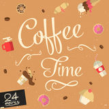 Wektorowy kawowy czasu znak Obraz Stock