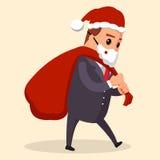 Wektorowy kierownik lub biznesmen ubierający w Święty Mikołaj , ilustracja, mieszkanie Fotografia Stock