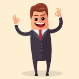 Wektorowy kierownika charakter szczęśliwy i z otwartymi rękami, ono uśmiecha się szeroko Płaska ilustracja lub biznes Fotografia Stock