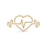 Wektorowy kierowy kontur, dumbbells i kardiogram, Ikona symbolizuje zdrowie i sport lifestyle Zdjęcie Royalty Free