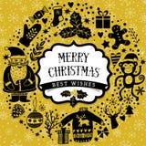 Wektorowy kółkowy wianek, Bożenarodzeniowy kartka z pozdrowieniami szablon, Wesoło boże narodzenia Zima wakacje projekt, ramowy w Zdjęcia Stock