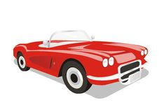 Wektorowy klasyczny odwracalny czerwony samochód royalty ilustracja