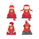 Wektorowy kogut głowy set Kreskówka styl w zimie, bożych narodzeń odziewać Zdjęcia Royalty Free