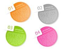 Wektorowy kolor zaokrąglać papierowe opcj etykietki Zdjęcie Stock