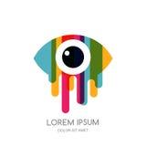 Wektorowy kolorowy abstrakcjonistyczny oko logo, znak, emblemata projekta element Projekta pojęcie dla okulistycznego, szkła robi ilustracja wektor