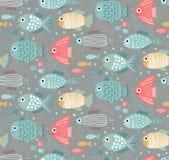 Wektorowy kolorowy bezszwowy wzór z śmiesznymi rybami ilustracja wektor