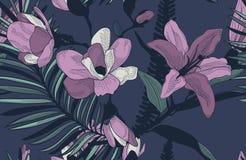 Wektorowy Kolorowy Bezszwowy wzór z Patroszonymi kwiatami Obraz Royalty Free