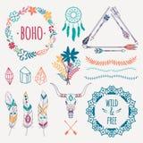 Wektorowy kolorowy etniczny set z strzała, piórka, kryształy Zdjęcie Royalty Free