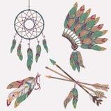 Wektorowy kolorowy etniczny set z wymarzonym łapaczem, piórka, strzała Obraz Royalty Free