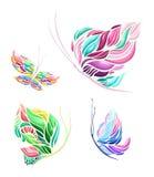 Wektorowy kolorowy motyli ustawiający z cztery elementami ilustracja wektor