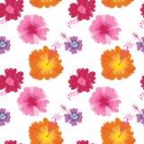Wektorowy kolorowy painterly kwiecisty bezszwowy deseniowy tło ilustracji