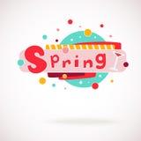 Wektorowy kolorowy słowo wiosna z szkłem winogradu i ręki pisać tekst (scrapbook i graffity styl) Zdjęcie Stock